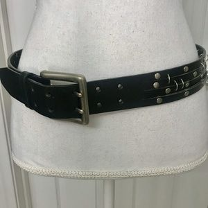 SILVER Leather Belt Statement Multi Studded Strap